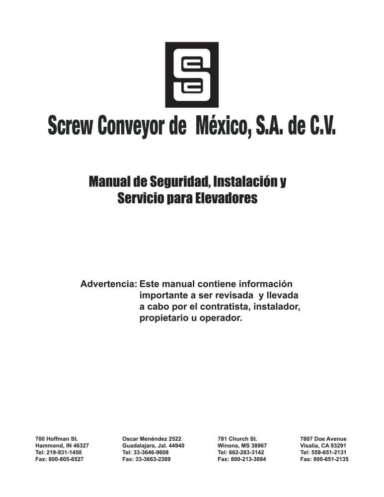 MANUAL DE SEG. INST. Y MANTTO. ELEVADORES DE CANGILONES